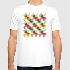 Mint green, orange & red pattern MEDIUM Mens Fitted Tee White
