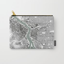 Portland, OR City Map Black/White Carry-All Pouch
