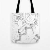 sun and moon Tote Bags featuring SUN & MOON by MTHARU