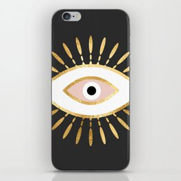 gold foil evil eye in blush iPhone Skin