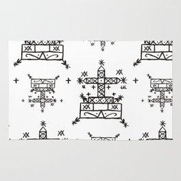 Baron Samedi Voodoo Veve Symbols in White Rug