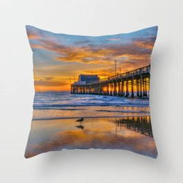 Low Tide Sunset Seagull at Newport Pier Throw Pillow