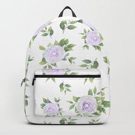 Botanical lavender white green watercolor floral Backpack