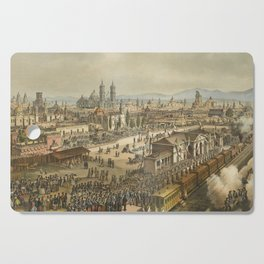 Vintage Pictorial Map of Puebla Mexico (1869) Cutting Board