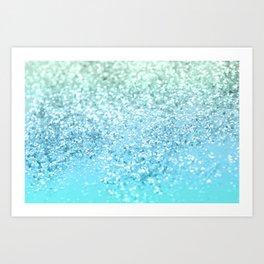 Seafoam Aqua Ocean MERMAID Girls Glitter #1 #shiny #decor #art #society6 Art Print