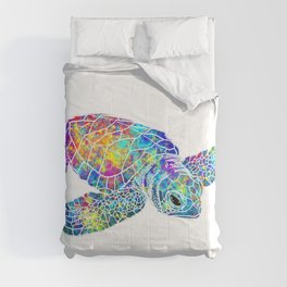 Colorful Sea Turtle Watercolor Art Comforters