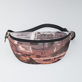 Watercolor painting  of skyline of downtown Raleigh, NC Fanny Pack