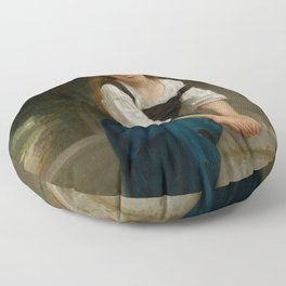"""William-Adolphe Bouguereau """"Orpheline à la fontaine ( Orphan at the fountain)"""" Floor Pillow"""