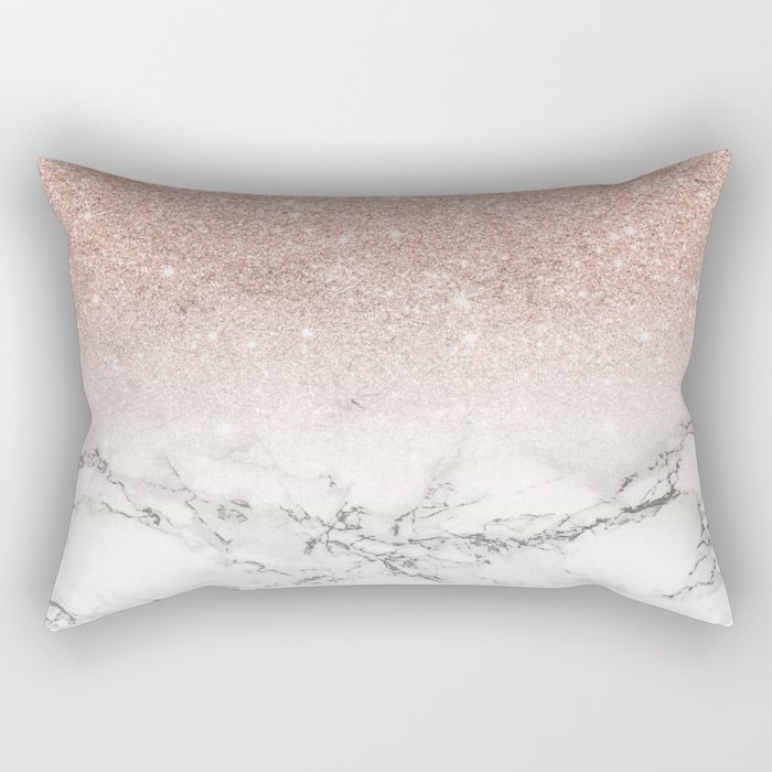 Modern faux rose gold pink glitter ombre white marble Rectangular Pillow