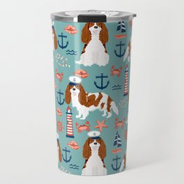 Cavalier King Charles Spaniel nautical sailing lighthouse new england sailboats Travel Mug