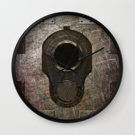 M1911 Colt 45 Muzzle On Rusted Riveted Metal Wall Clock