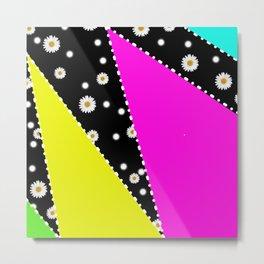Retro Neon Dasiy Pattern Metal Print
