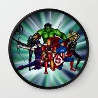 super heroes Wall Clocks featuring Heroes by Callie Clara