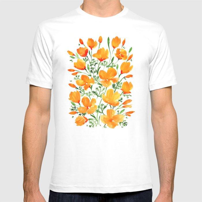 Watercolor California poppies T-shirt