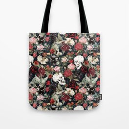Vintage Floral With Skulls Tote Bag