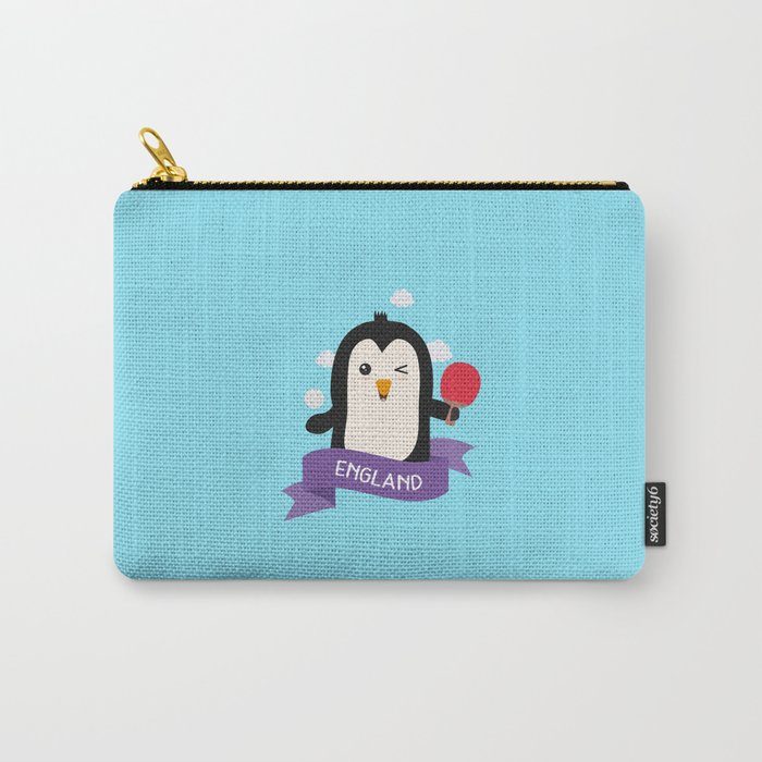 Penguin table tennis from ENGLAND T-Shirt Carry-All Pouch