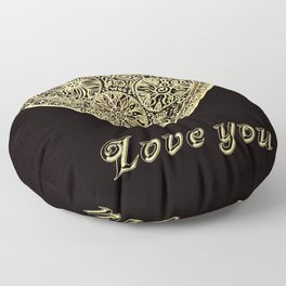 golden heart I love you Floor Pillow
