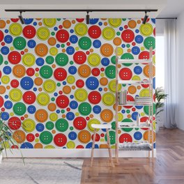 colorful scattered buttons Wall Mural
