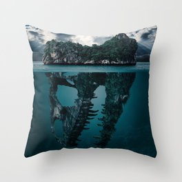 What's Below Dinosaur Skull (Color) Throw Pillow