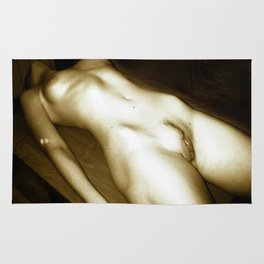 The Body - erotic photography in Midnight Sepia tones, submissive woman naked on table Rug