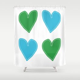 Blue and Green Hearts - 4 hearts Shower Curtain