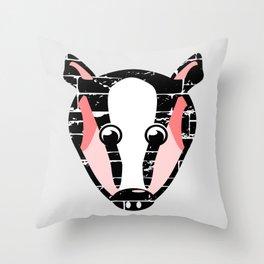 Cute Badger Face Throw Pillow