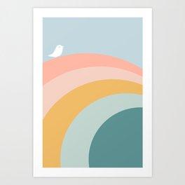 boho rainbow in soft & trendy colors, minimalism Art Print