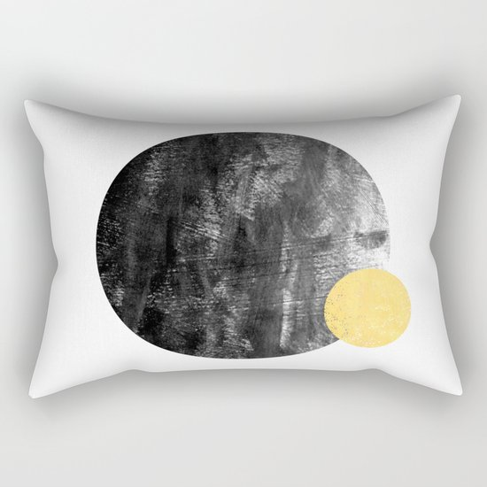 Ripley - abstract marble texture india ink painting minimal white and black with gold canvas art Rectangular Pillow