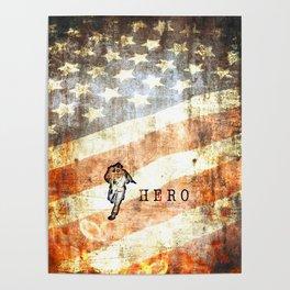 Firefighter Hero Grunge Poster