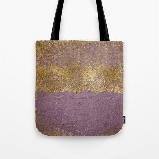 Romantic Bridal lace - Gold floral elegant lace on old purple paper Tote Bag