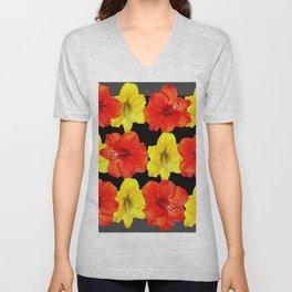 DECORATIVE RED & YELLOW AMARYLLIS FLOWERS Unisex V-Neck