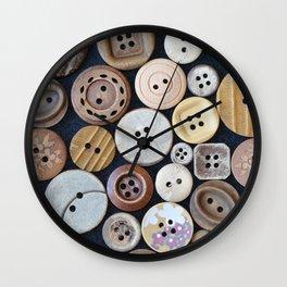 Wooden Buttons Wall Clock