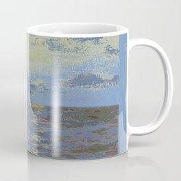 light blue ocean with ship Coffee Mug