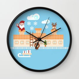 Santa Claus deliver presents on Christmas Eve Wall Clock