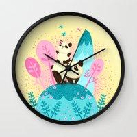 pandas Wall Clocks featuring pandas by Caramela
