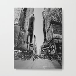 The busy streets of New York City | People crossing NYC crosswalk | Black and white travel photography Metal Print