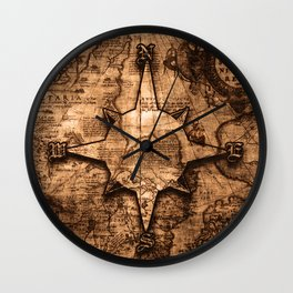 Antique World Map & Compass Rose Wall Clock
