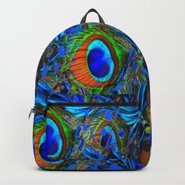 ARTY FEATHERY BLUE PEACOCK ABSTRACTED  FEATHERS ART Backpack