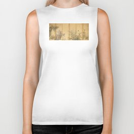 Japanese Edo Period Six-Panel Gold Leaf Screen - Spring and Autumn Flowers Biker Tank