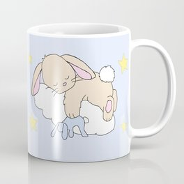 Floppy Ears Woodland Baby Bunny Sleeping on Cloud in Starry Night Sky Coffee Mug