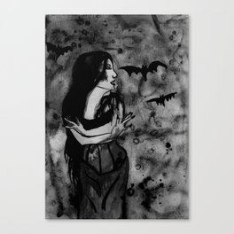 Christina Death - Black & White Canvas Print