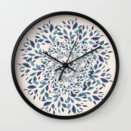 Indigo Leaves Mandala Wall Clock