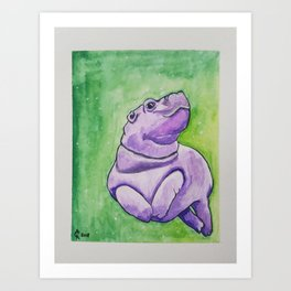 Baby Hippo Watercolor Art Print