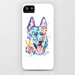 German Shepherd Watercolor Pet Portrait Painting iPhone Case