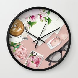 Coffee pink Wall Clock