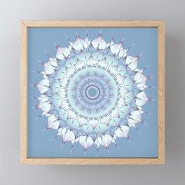 Delicate Mandala pastel ice blue Framed Mini Art Print