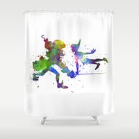 captain hook Shower Curtains featuring Peter Pan and Captain Hook in watercolor by Paulrommer