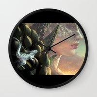 dragons Wall Clocks featuring Dragons by Nell Fallcard