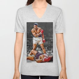 Mama Said I'm Gonna Knock You Out - Ali Knocks out Liston Boxing Portrait Painting oil on canvas Unisex V-Neck