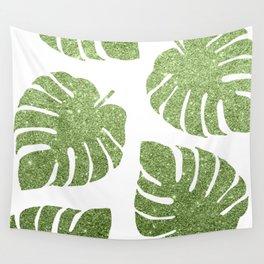 Glitter Monstera Leaves Wall Tapestry